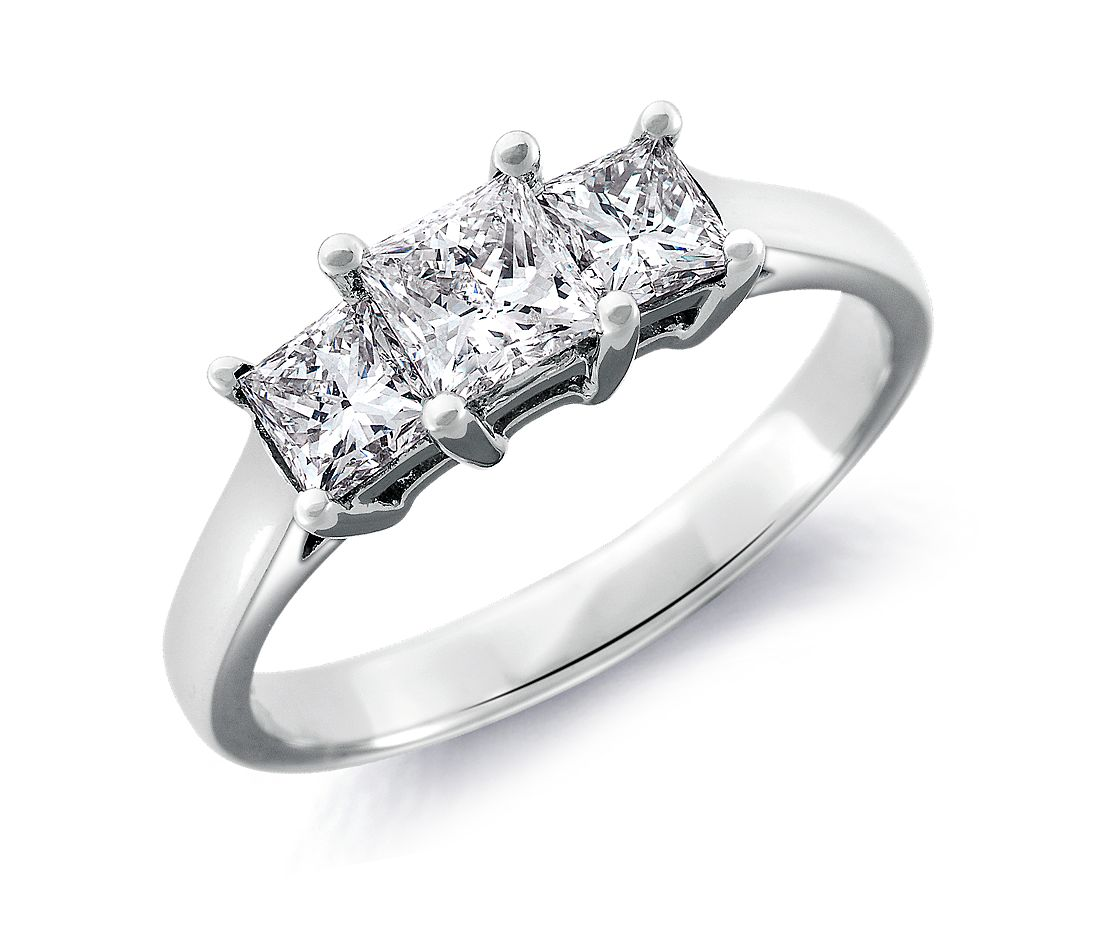 Three Stone Princess Cut Diamond Ring In 18k White Gold (1 Ct Tw