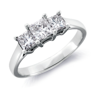 Image result for three stone cut diamond rings