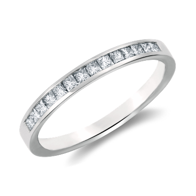 Channel Set Princess Cut Diamond Ring in Platinum 12 ct tw
