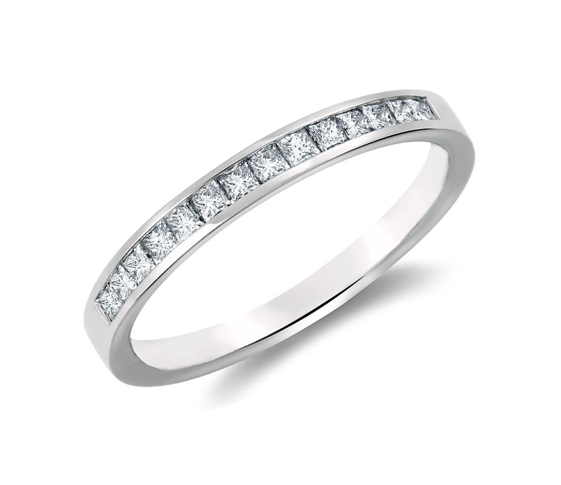Channel-Set Princess Cut Diamond Band in 18k White Gold (1/3 ct. tw.)