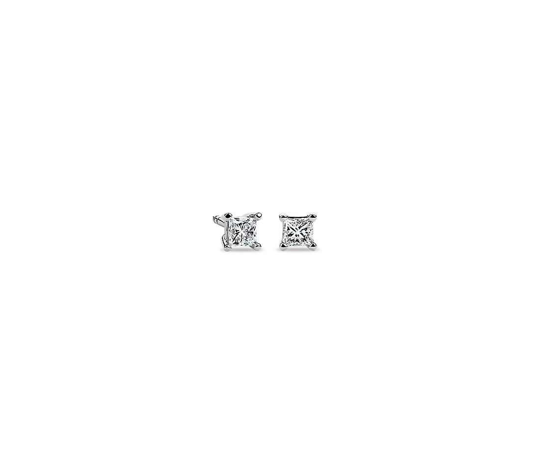 Princess Cut Diamond Stud Earrings In 14k White Gold 1 4 Ct