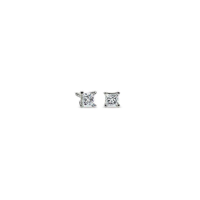 Princess-Cut Diamond Stud Earrings in 14k White Gold (1/4 ct. tw.