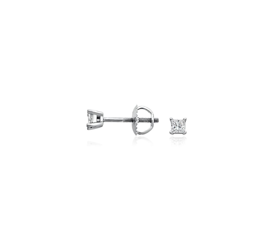 Essential Princess-Cut Diamond Stud Earrings in 14k White Gold (1/4 ct. tw.)