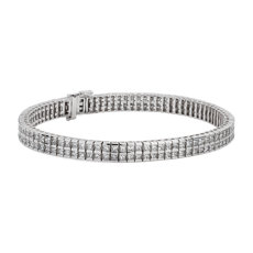 NEW Princess-Cut Double Row Diamond Tennis Bracelet in 14k White Gold (6.72 ct. tw.)