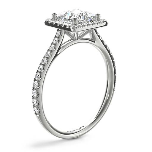 Princess-Cut Floating Halo Diamond Engagement Ring