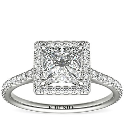 Princess-Cut Floating Halo Diamond Engagement Ring in 14k White Gold (1/3 ct. tw.)