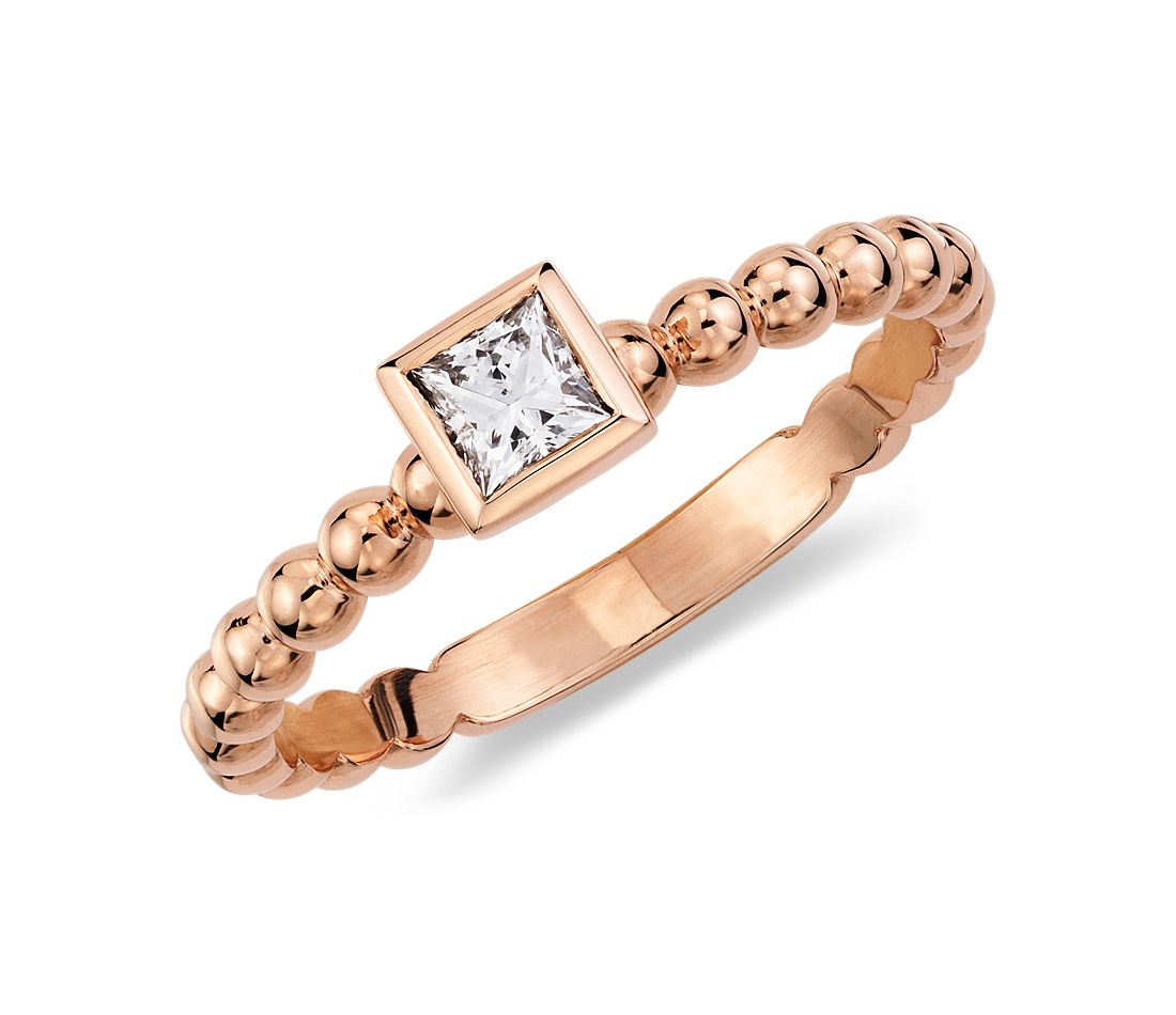 Princess Cut Diamond Beaded Stack Ring in 14k Rose Gold (1/5 ct. tw.)