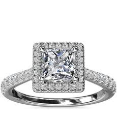 14k 白金公主方形鑽石橋飾光環鑽石訂婚戒指(1/3 克拉總重量)