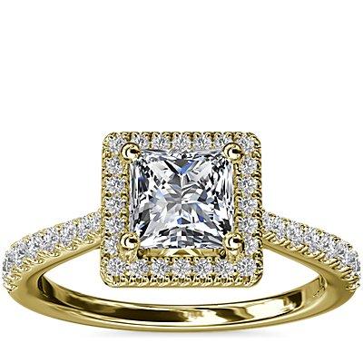Anillo de compromiso de diamante de talla princesa con halo y detalle de puente de diamantes en oro amarillo de 14k (1/3 qt. total)