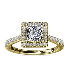 NUEVO. Anillo de compromiso de diamante de talla princesa con halo y detalle de puente de diamantes, en oro amarillo de 14k (1/3 qt. total)