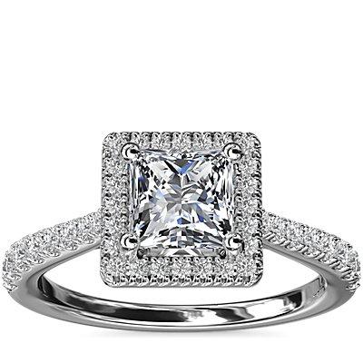 NEW Princess Diamond Bridge Halo Diamond Engagement Ring in Platinum (1/3 ct. tw.)