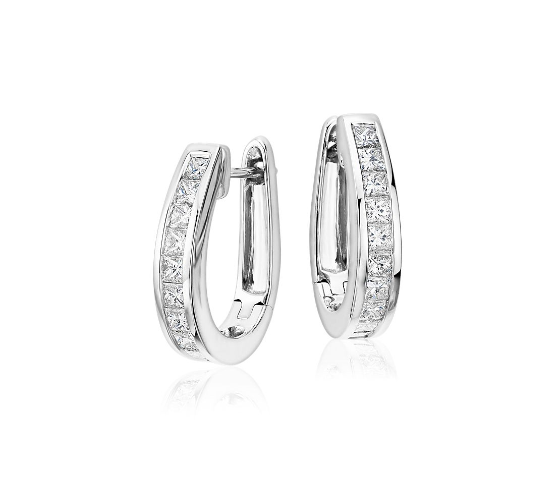 Princess Cut Hoop Diamond Earrings In 18k White Gold 1 2 Ct Tw
