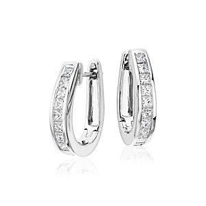 Princess Cut Hoop Diamond Earrings in 18k White Gold (1 1/2 ct. tw.)