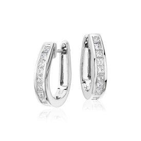 Créoles en diamant taille princesse en or blanc 18carats (1 1/2carats, poids total)