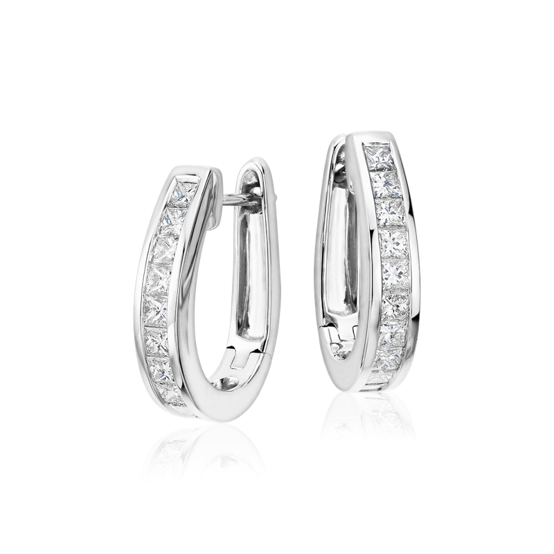 Princess Cut Hoop Diamond Earrings in 18k White Gold (1 1/2 ct. t