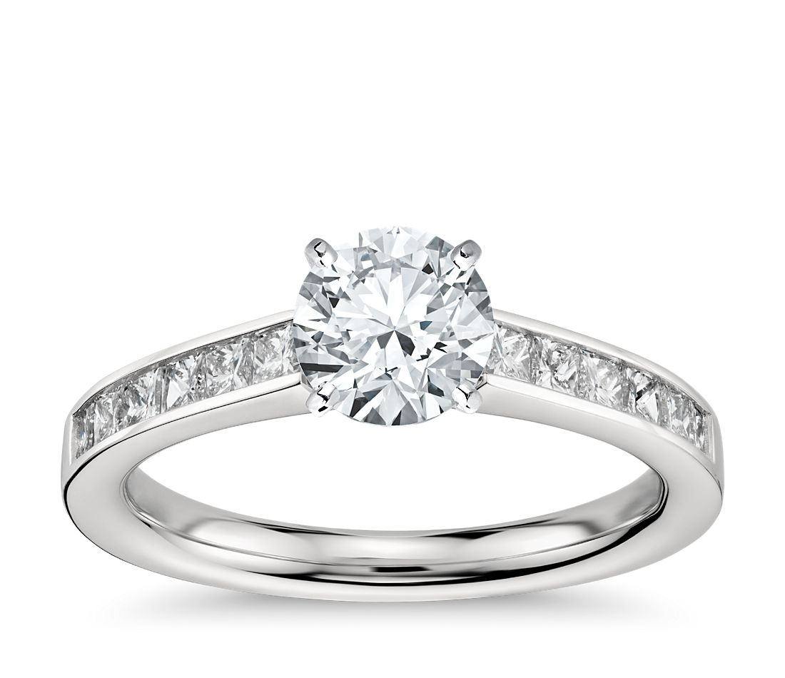 Channel Set Princess Cut Diamond Engagement Ring In