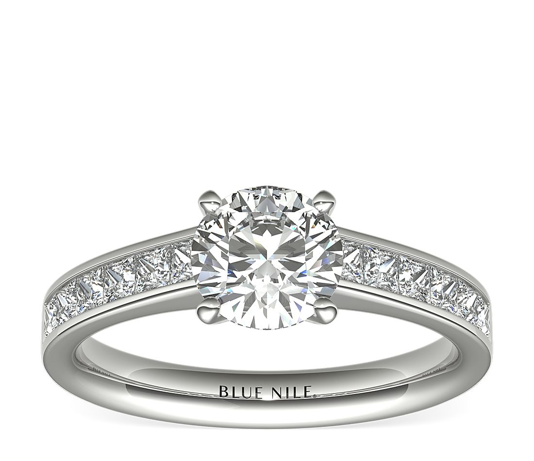 239bf4ebcdc53 Princess Cut Channel Set Diamond Engagement Ring in 14k White Gold (1/2 ct.  tw.) | Blue Nile