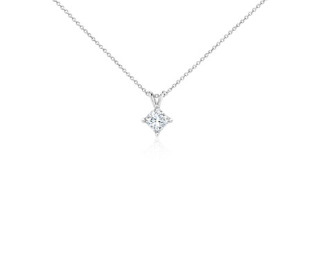 Princess-Cut Diamond Solitaire Pendant in 18k White Gold (1 1/2 ct. tw.)