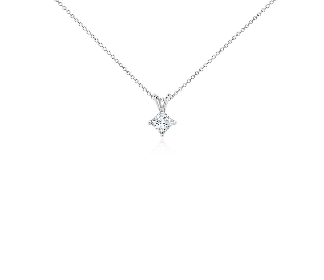 18k White Gold Four-Claw Princess Diamond Pendant (3/4 ct. tw.)
