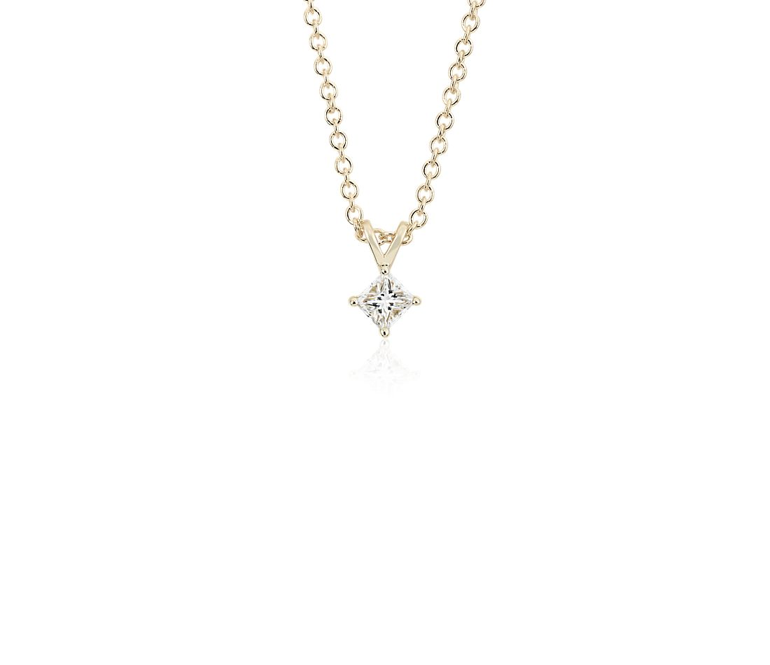 14k Yellow Gold Four-Claw Princess Diamond Pendant (1/4 ct. tw.)