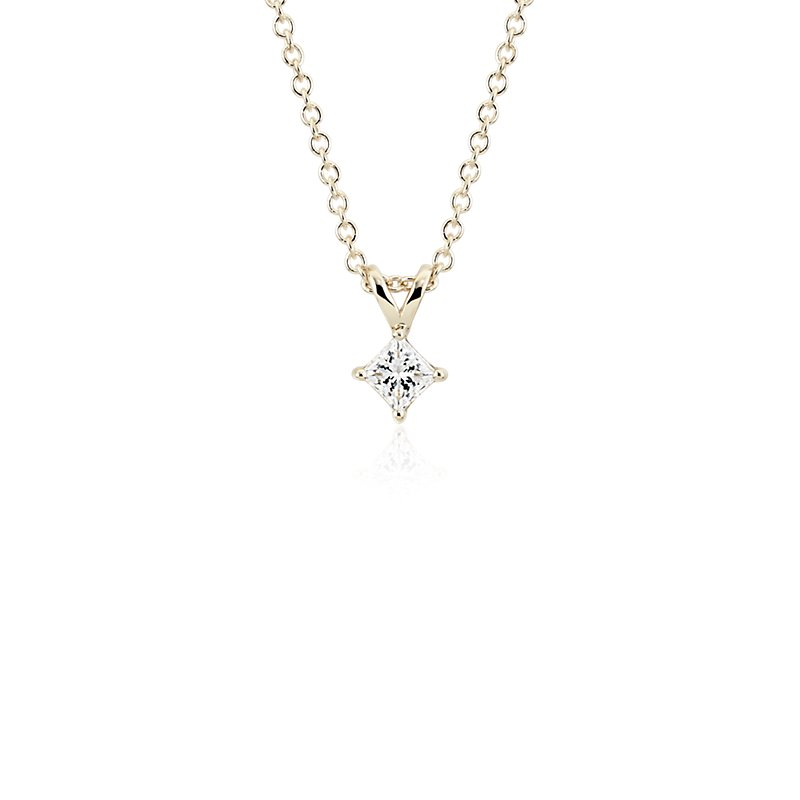 Princess-Cut Diamond Solitaire Pendant in 14k Yellow Gold (1/3 ct