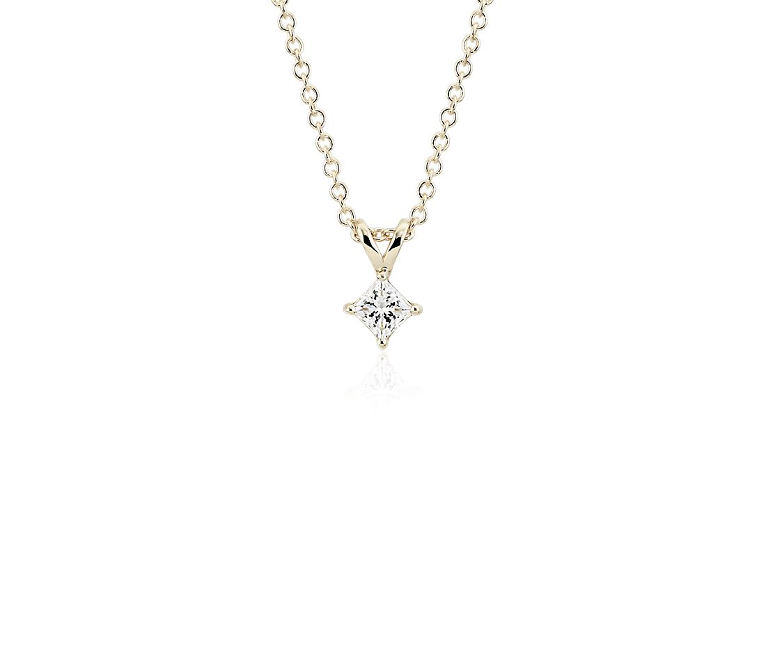 Princess-Cut Diamond Solitaire Pendant in 14k Yellow Gold (1/3 ct. tw.)
