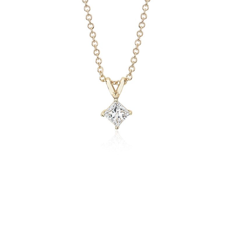 Princess-Cut Diamond Solitaire Pendant in 14k Yellow Gold (1/2 ct