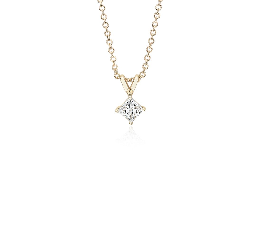14k Yellow Gold Four-Claw Princess Diamond Pendant (1/2 ct. tw.)