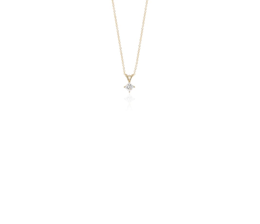 Princess-Cut Diamond Solitaire Pendant in 14k Yellow Gold (3/4 ct. tw.)
