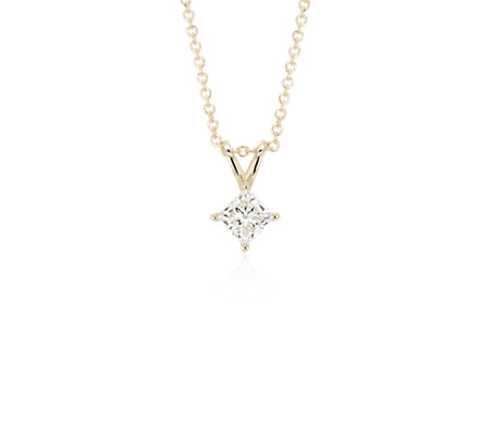 Princess-Cut Diamond Solitaire Pendant in 14k Yellow Gold (1 ct. tw.)