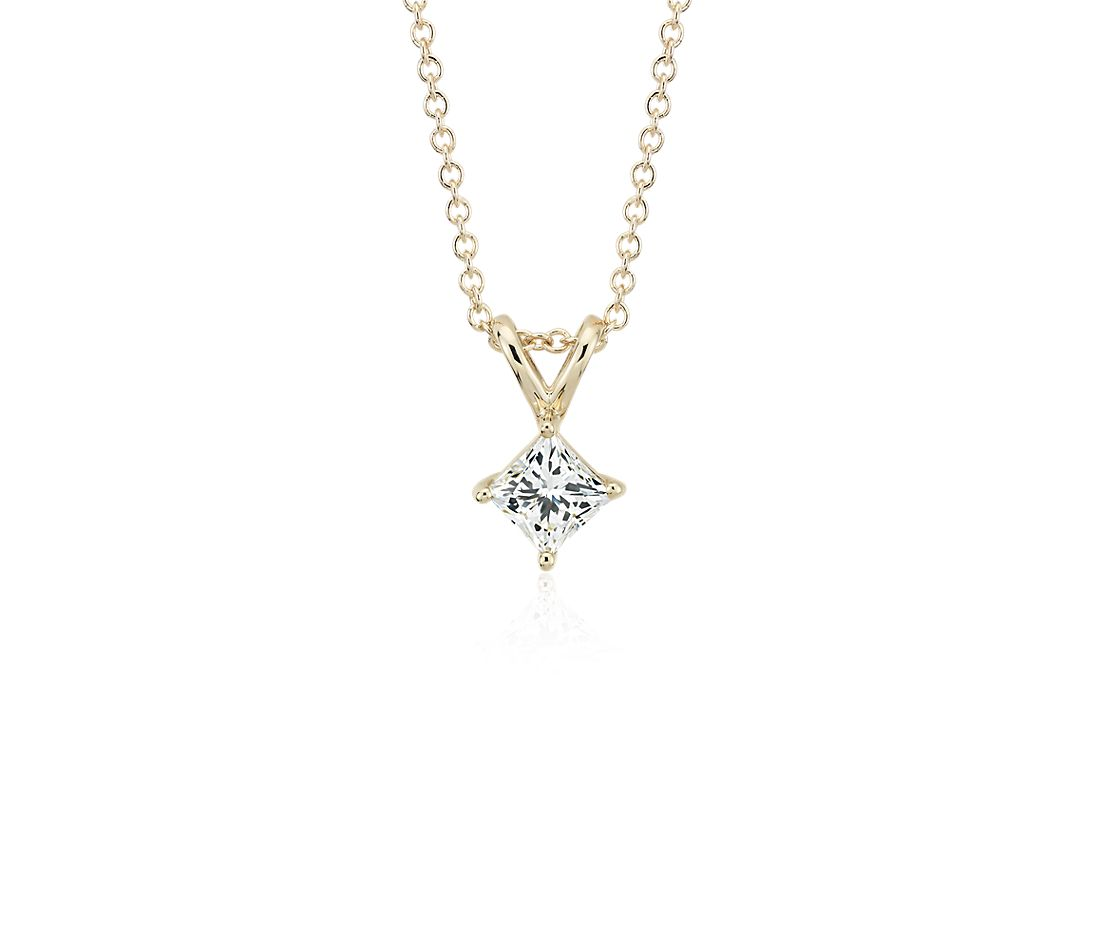 14k Yellow Gold Four-Claw Princess Diamond Pendant (1 ct. tw.)