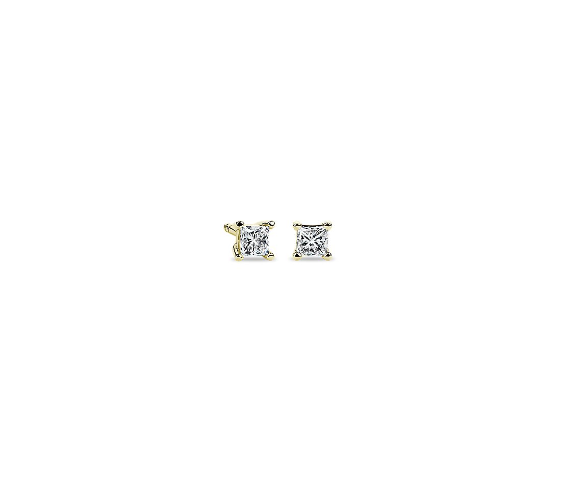 14k Yellow Gold Four-Claw Princess Diamond Stud Earrings (1/4 ct. tw.)