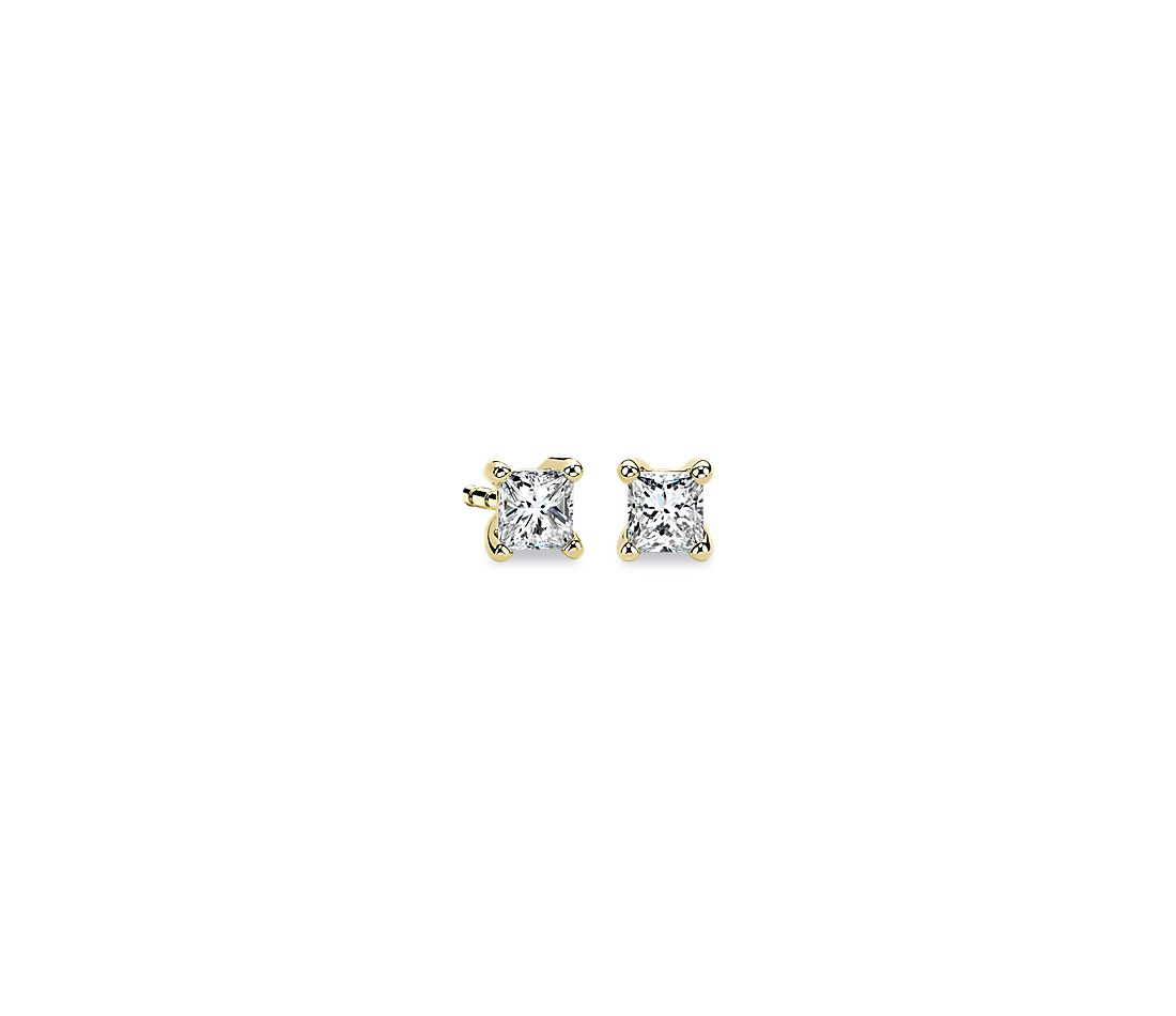 14k Yellow Gold Four-Claw Princess  Diamond Stud Earrings (1/3 ct. tw.)
