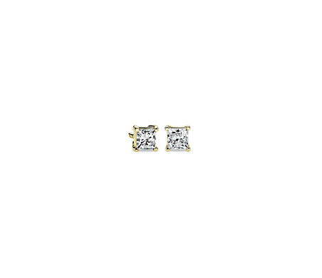 Princess Diamond Stud Earrings in 14k Yellow Gold (1/2 ct. tw.)