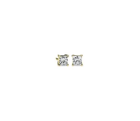 Aretes con diamantes de talla princesa en oro amarillo de 14k (1/2 qt. total)