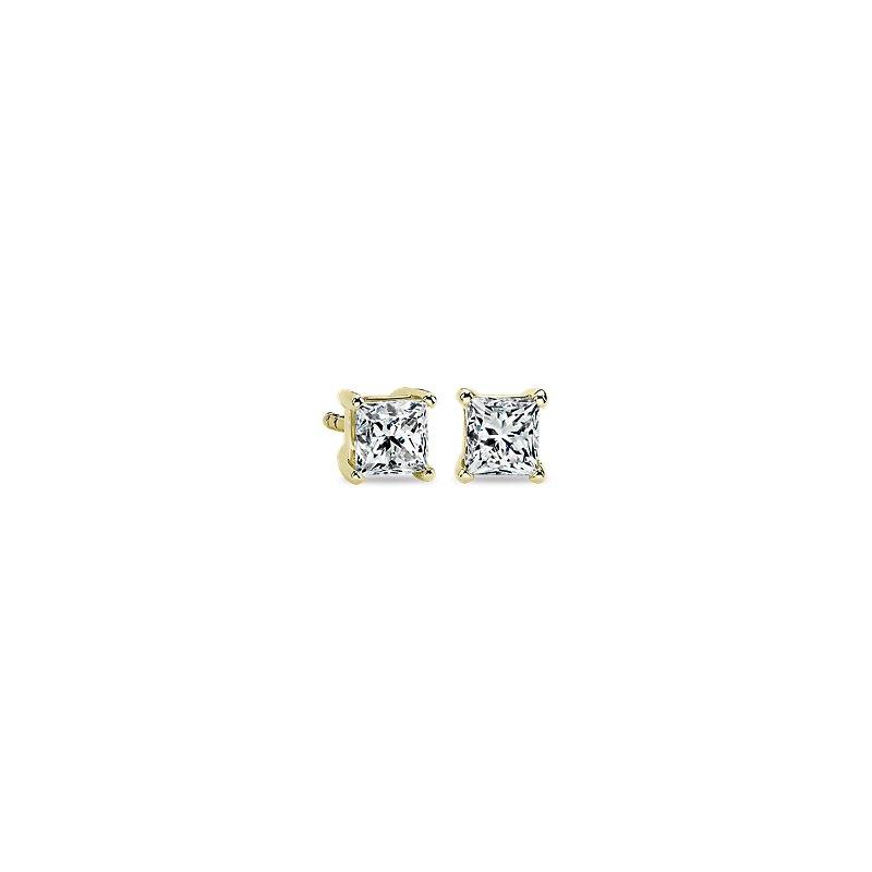 Princess Diamond Stud Earrings in 14k Yellow Gold (3/4 ct. tw.)