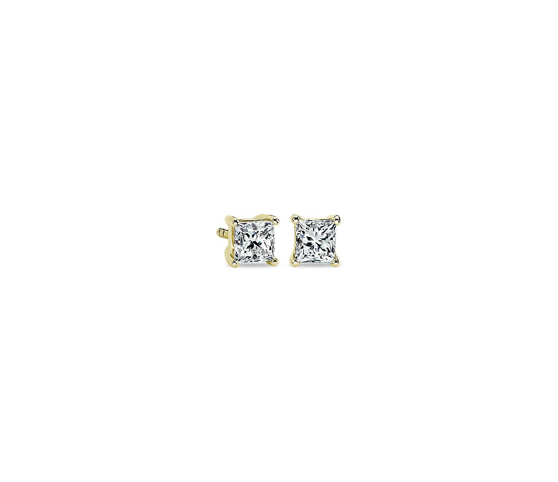 Princess Diamond Stud Earrings in 14k Yellow Gold (3/4 ct. tw.)