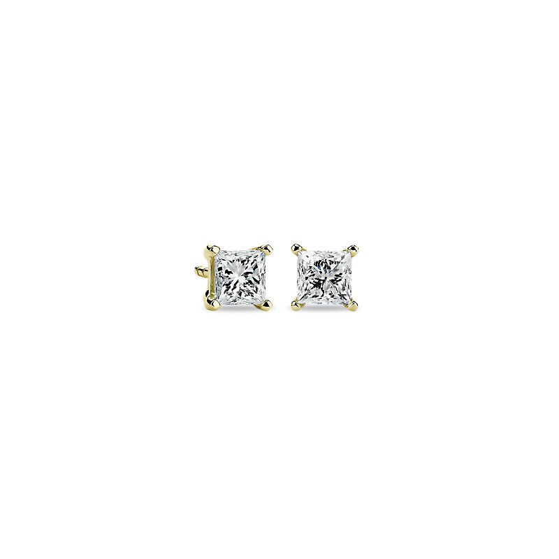 Princess Diamond Stud Earrings in 14k Yellow Gold (1 ct. tw.)