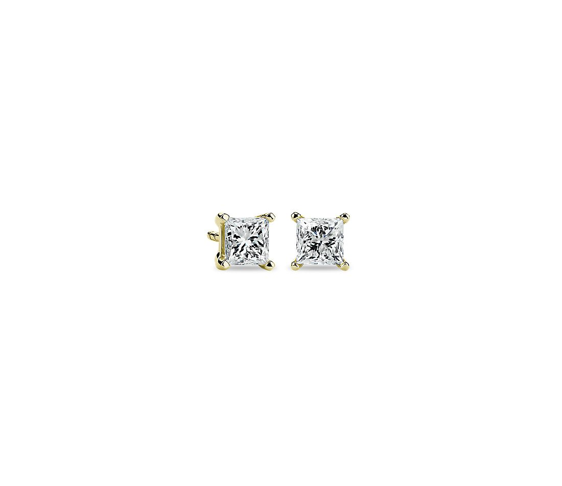 Princess Diamond Stud Earrings In 14k Yellow Gold 1 Ct Tw
