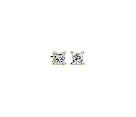 Aretes con diamantes de talla princesa en oro amarillo de 14k (1 qt. total)