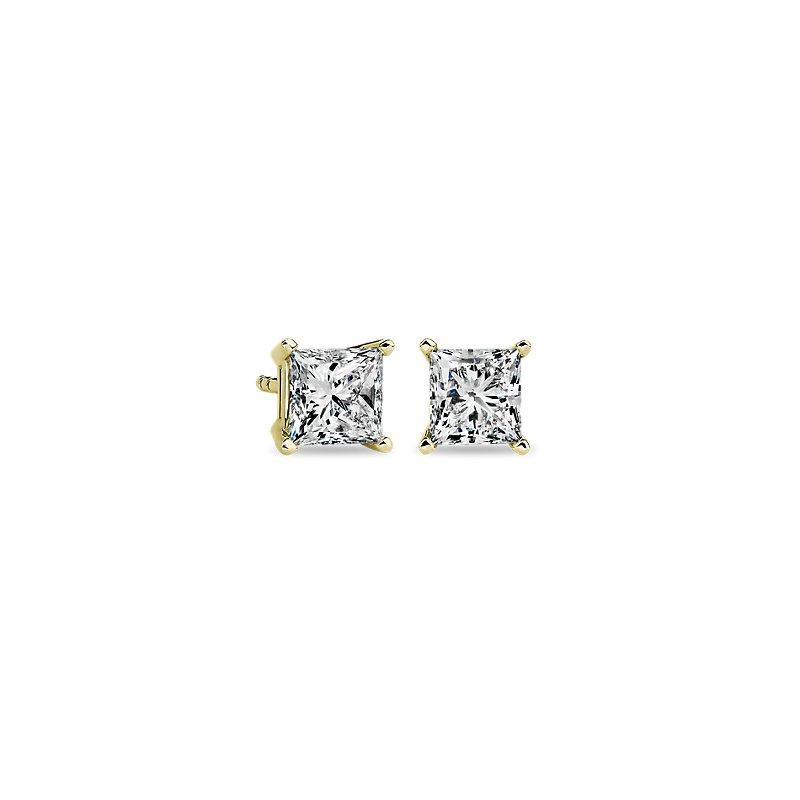 Princess Diamond Stud Earrings in 14k Yellow Gold (1 1/2 ct. tw.)