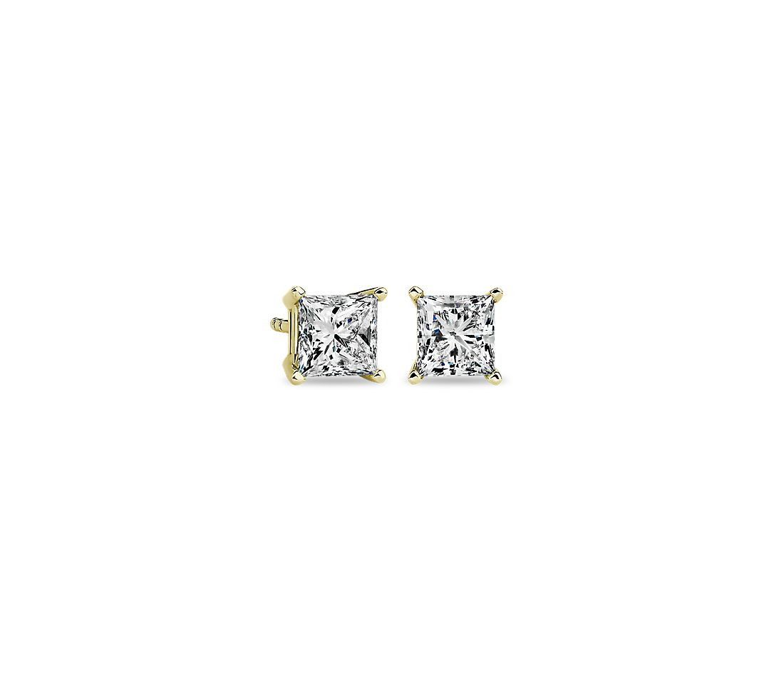 Princess Diamond Stud Earrings in 14k Yellow Gold (1 1/2 ct. tw.)