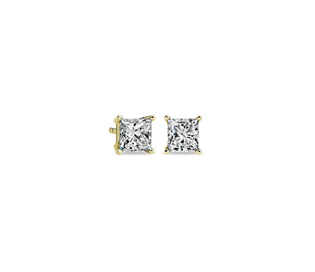 Blue Nile Princess-Cut Diamond Stud Earrings in 14k White Gold (1/2 ct. tw.)