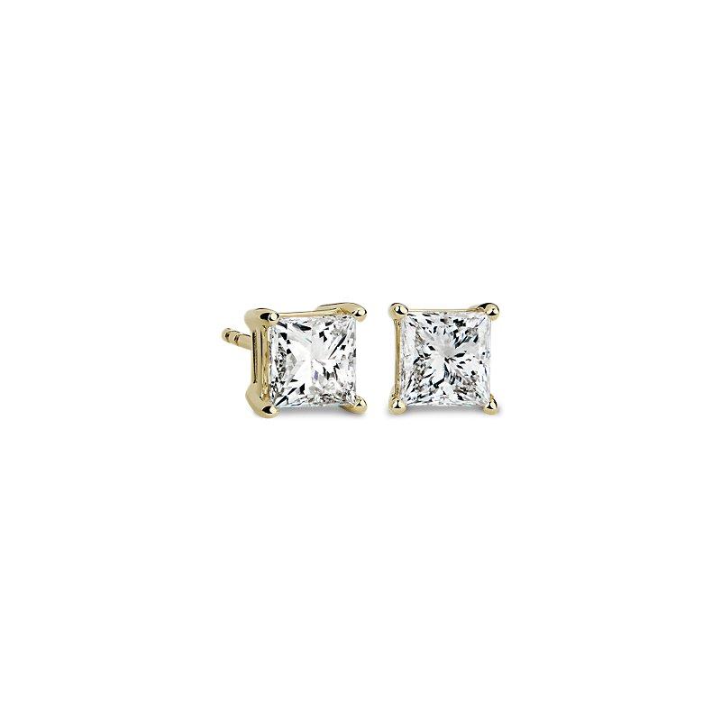 Princess Diamond Stud Earrings in 14k Yellow Gold (2 ct. tw.)