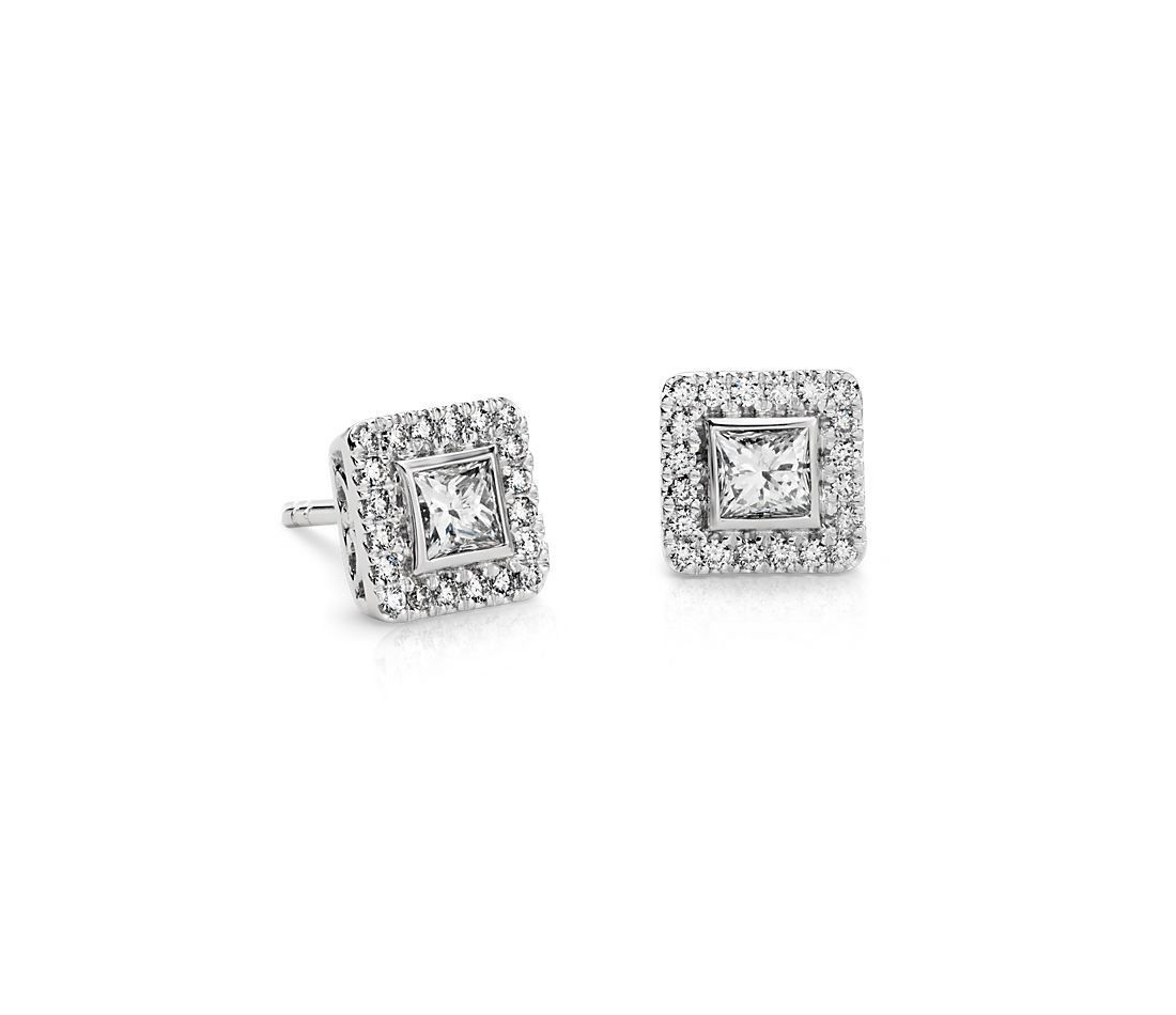 Princess-Cut Halo Diamond Earrings in 14k White Gold (1 ct. tw.)