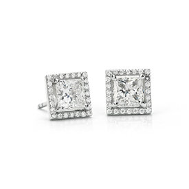 Princess-Cut Halo Diamond Stud Earrings in Platinum (2 ct. tw.) - J / SI1