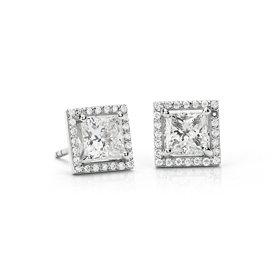 Aretes con halo de diamantes de talla princesa en platino (2 qt. total) - J / SI1