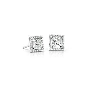 新款铂金钻石光环公主耳钉(2 克拉总重量)- H / SI1