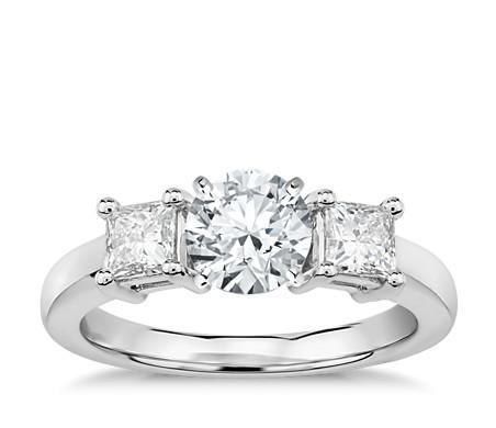 Princess-Cut Three-Stone Engagement Ring in Platinum (1/2 ct. tw.)