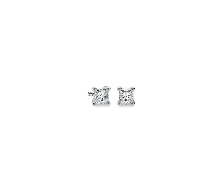Blue Nile Princess-Cut Diamond Earrings in 14k White Gold (1/3 ct. tw.) htrHTF
